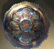 Vintage Antique Fenton Peacock And Grapes Blue Carnival Glass Bowl 8