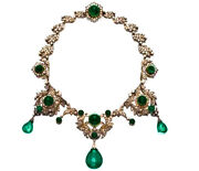 Rose Cut Diamond Natural Emerald 925 Sterling Silver Victorian Style Necklace