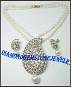 925 Sterling Silver Diamond Pearl Necklace Rose Cut Uncut Victorian Look Jewelry