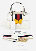 Butterfly Grained Calfskin Web Stripe Sylvie 505344 Tote Top Handle Bag