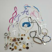 Religious Jewelry Lot 37 Piece Necklace Rosary Christian Cross Angel Rosary Pin