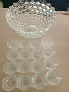 Vintage Fostoria American Pattern Cubist Punch Bowl With 16 Cups