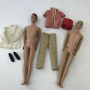 Vtg 1960 Allan And Ken Doll Redhead Barbie And Old Clothes. Straight Leg Japan Usa