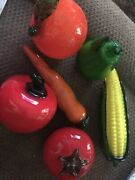 Vintage Murano Art Glass Assortment Of Fruits Vegetables Exquisite Rare Find