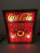 Vintage Coca-cola Retro 1970s Faux Stained Glass Light Up Clock Sign Ims Coke