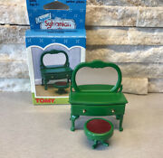 Vintage Sylvanian Families Green Furniture Dressing Table Vanity And Stool Bedroom