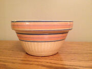 Rare Antique Stoneware Yellow Ware Bowl 10 Pink And Blue Bands Hard 2 Find Vintage