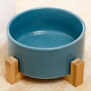 Pet Bowl And Bamboo Frame Ceramics Food Or Drink Water Bowl Dish Non-slip Solid