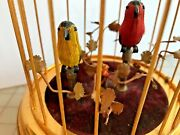 Wind Up Singing 2 Bird Brass Cage Music Box Etched Numbers, Made In Germany