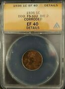 1936 Lincoln Wheat Cent Ddo Fs-102 Anacs Ef40 Details