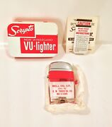 Vintage 1962 Scripto Vu Lighter Bell Oil Co. Unfired Unused W/ Box And Paperwork