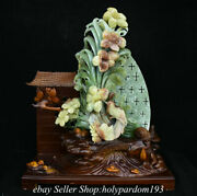 19.6 Chinese Natural Xiu Jade Carving Fengshui Narcissus Flower Bird Statue