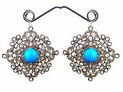 925 Silver Rose Cut Antique Diamond Turquoise Victorian Style Dangle Earrings