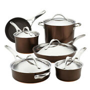 Cookware Set 11-piece Copper Induction Plate Nonstick Aluminum With Lids Brown