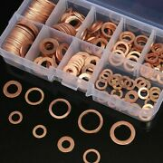 150pcs Kit Assorted Oil Drain Copper Crush Washers Seal Flat Ring Gasket M5-m22