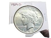 1924-s Peace Dollar 90 Silver Ms+-1-coin-free Shipping-072721-0053