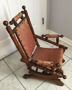 Mid-victorian Childs Upholstered Rocking Chair. Circa 1880 American.