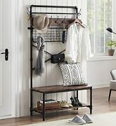 Homyshopy Industrial Hall Tree Shoe Bench 5 In 1 Entryway Coat Rack With Hang...
