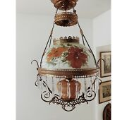 Antique Victorian Converted Hanging Parlor Lamp Chandelier