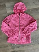 Girlsand039 Size M 10 Hot Pink Hooded Packable Rain Jacket Ships Free