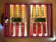 Vtg Cardinal 60 Chips Red And Butterscotch Swirl Bakelite Backgammon With Case