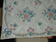 """Vtg Applique Arch Quilt Floral Bouquet 53"""" X 80 Farmhouse Made In Hawthorne, Ny"""