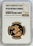 2003 Gold Great Britain Two Pounds 2 Sovereign Coin Ngc Proof 69 Ultra Cameo
