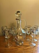 Vintage Liquor Wine Whiskey Decanter With 6 Stemmed Etched Glasses Gold Accents