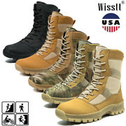 Menand039s Military Tactical Combat Army Boots Security Travel Hiking Police Lace Up
