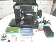 Vintage 1955 Singer Featherweight 221 Sewing Machine With Case And Accsssories