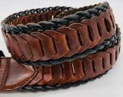 Womens S Black And Brown Belt Braided Woven Leather Country Western 1 3/4 Wide