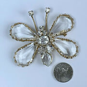 Large Vintage Unsigned Schreiner Ny Crystal Rhinestone Lucite Butterfly Brooch