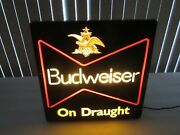 Budweiser Beer Lighted Sign On Draught Very Nice