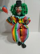 Vintage Wooden Clown String Puppet Hand Crafted
