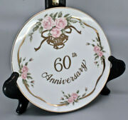 Lefton China 60th Anniversary Collectible Plate Gold Trim Hand Painted