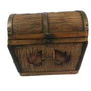 Vintage Dome Top Treasure Chest Trunk Decorative Bamboo With Brass Trim Wood Box