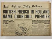 Ww2 - British-french Name Churchill Premier May 11 1940-chicago Daily Newspaper