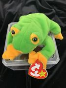 Rare And Retired 1997 Smoochy The Frog Ty Beanie Baby With Tag Errors. A8
