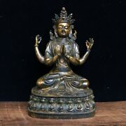 8.2 Exquisite Asian Chinese Old Antique Bronze Ware Four Arms Guanyin Statue