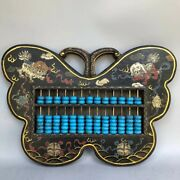 China Wood Lacquerware Turquoise Lion Counting Frame Abacus Wall Hanging Statue