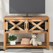 U-style 44 Tv Stand Wood Metal Tv Console With Storage Cabinets And Shelves Us
