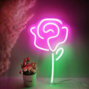 Rose Flower Neon Signs Wall Lights Party Beer Recreation Decor Usb Powered