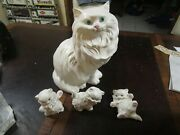 Vintage Large 14 Ceramic Persian Cat And Kittens Green Eyes Dated 1970