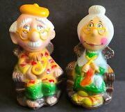 Coin Banks Plastic Vintage Pair Old Man And Woman Eye Glasses Rocking Chair