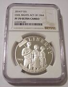 2014 P Civil Rights Act Of 1964 Commemorative Silver Dollar Proof Pf70 Uc Ngc