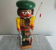 Vintage Steinbach Volkskunst Germany Fisherman With Pole Yellow Green 14