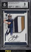 2016 National Treasures Jared Goff Rookie Rc Patch Auto /99 101 Bgs 9 Mint