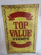 Vintage 1966 Top Value Stamps Sign Double Sided Hanging Service Station 36