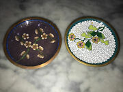 Pair Old Antique Chinese Cloisonné / Brass Pin Small Dishes - Collectible