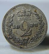1838 Great Britain Silver 2 Two Pence